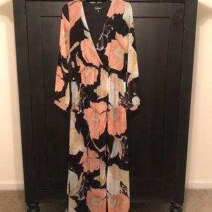 NWT Lulus Wondrous Floral Maxi Dress